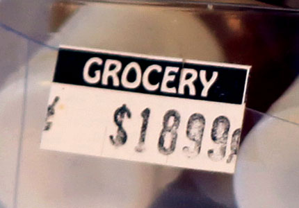 price tag grocery store