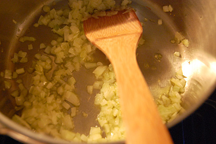 Starting the Risotto onions