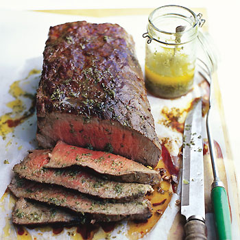 Wood-Smoked Tri-Tip with Sicilian Herb Sauce
