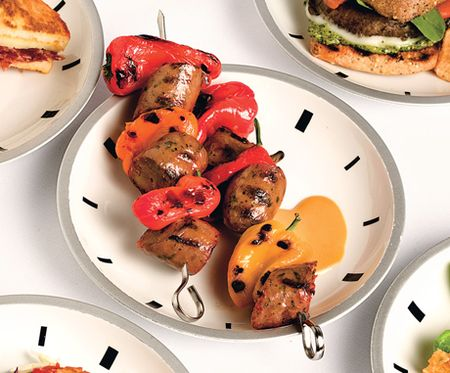 Honey-Mustard Chicken-Sausage Kebabs