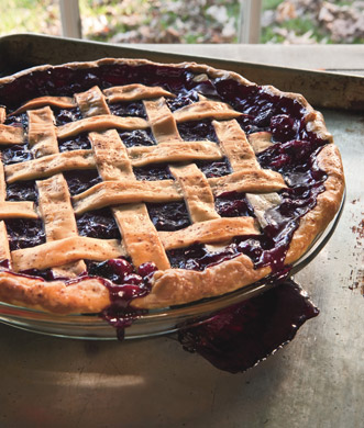 Lattice blueberry pie