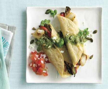 Zucchini and Red Pepper Enchiladas with Two Salsas