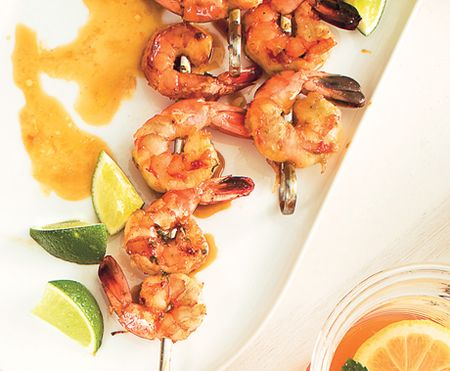 Grilled Shrimp with Molasses-Guava Glaze