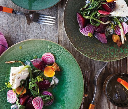 Grilled Beets with Burrata and Poppy Seed Vinaigrette