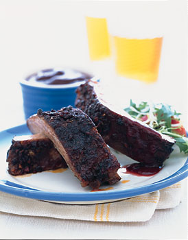 Baked Ribs with Spicy Blackberry Sauce